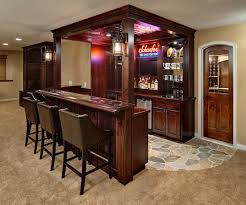 decoration red oak wood mini bar table units with charming led lighting and lantern lights bar furniture designs