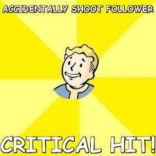 Accidentally shoot follower critical hit (Fallout 3) | Meme share via Relatably.com