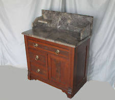 washstand bathroom pine: antique victorian walnut eastlake marble top wash stand commode