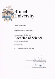 james kirby s cv attained first class honours
