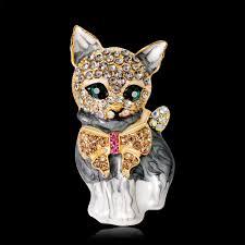 Brooches Cat <b>Fashion Personality</b> Cute Alloy <b>Green Eyes</b> Kitten ...