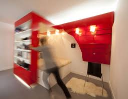 red nest bed and office all in one small space solution bed in office
