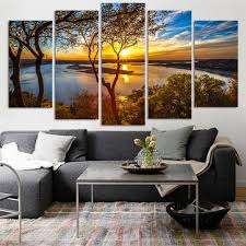 <b>5</b> panel <b>canvas painting</b> sunset lake tree seascape landscape ...