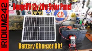 Super Simple! BougeRV <b>12v 20w Solar Panel</b> Battery Charger Kit ...