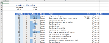 the best excel checklist critical to success the best excel checklist uses no visual basic but has a great set of features it s easy to create and modify