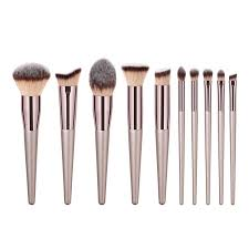 10Pcs PVC <b>Champagne Makeup Brush</b> Cosmetic Eye Kit <b>Face</b> ...