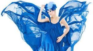 Woman In Blue <b>Floral</b> Crown In <b>Chiffon</b> Waving <b>Dress</b>, <b>Fabric</b> ...
