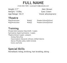 special skills for jobs sample acting resume template sample actors resume template word