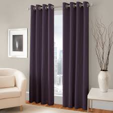 Purple Living Room Curtains Pretty Purple Room Darkening Curtains With Silver Rods On Gray