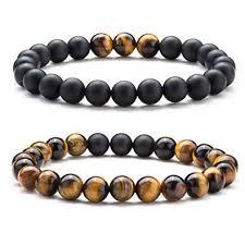 Hamoery Men Women <b>8mm</b> Tiger Eye Stone Beads Bracelet <b>Elastic</b>