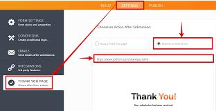 create a custom thank you page auto redirect jotform v3