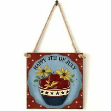 <b>Vintage Wooden Hanging Plaque</b> Happy 4th Of July Sign Board ...