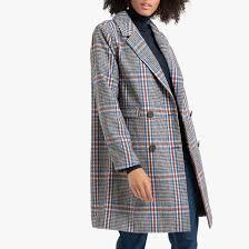 <b>Пальто средней</b> длины в клетку в клетку/синий <b>La Redoute</b> ...