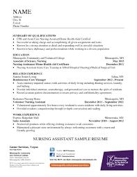 Nurse Aide Sample Resume Sample Of Job Proposal Allocation Analyst