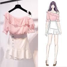 ICHOIX <b>Sweet off</b> shoulder Shirt 2 pieces skirt set female summer ...