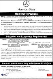 aidt jobs jobs view maintenance positions job description for maintenance positions mercedes benz us internatl inc in vance alabama