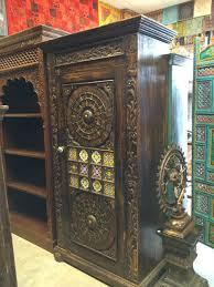 antique cabinet brass minakari work storage armoire india furniture antique furniture armoire