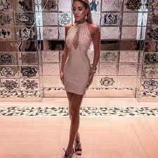 Women Sexy <b>Fashion Sequined Mesh</b> Nude Bandage Dress 2020 ...