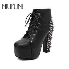 <b>NIUFUNI Women'S</b> Boots High Heels Shoes With Waterproof Rock ...