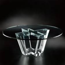 round glass table with gorgeous glass pedestalshaped cross and bonded with amazingly powerful and made to acrylic glass desks