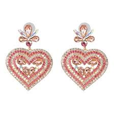 <b>2019 Vintage Boho</b> Statement Crystal Heart Drop Earrings <b>Ethnic</b> ...