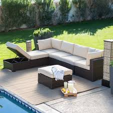 patio couch set belham living monticello all weather outdoor wicker sofa sectional set conversation patio sets at hayneedle