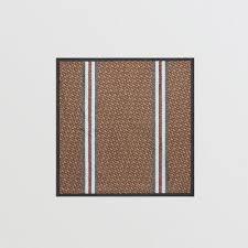 Monogram Stripe Print Silk <b>Square Scarf</b> in Bridle Brown | Burberry