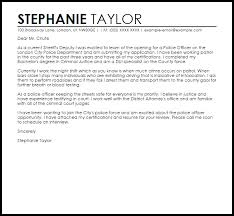 sample cover letter for a police officer police officer cover letters