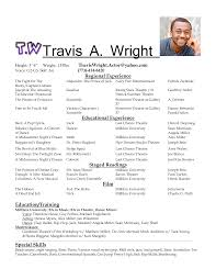 sample acting resume template resume sample sample resume template for acting regional experience and educational experience