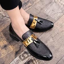 Shop Fashion <b>2019Hot Sale Men</b> Flat Black Golden Formal Dress ...
