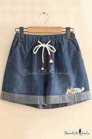 <b>Summer Girls</b> Cartoon Cat <b>Embroidery</b> Drawstring Waist Loose ...