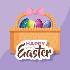 <b>Малыш в костюме зайчика</b> и пасхальные яйца в корзине ...