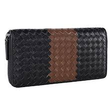 Banuce Patchwork Genuine Leather Bifold <b>Long Zipper Wallet</b> for ...