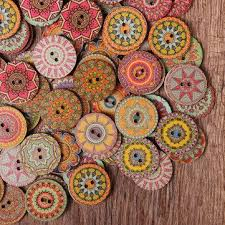 <b>Hot</b>-<b>sale</b> 50Pcs 25mm <b>Multi</b>-<b>Color</b> Wooden Buttons Round Sewing ...