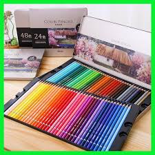 <b>Deli Oily Colored Pencil</b> Set 24/36/48/72 Colors Oil Painting ...