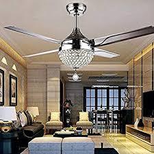 ACZZ <b>Crystal</b> Modern Ceiling Fan <b>Remote Control</b> Home <b>Decor</b> ...