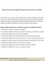 top 8 technical support specialist resume samples desktop support resume sample
