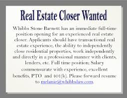 real estate closer wanted escambia santa rosa bar association advertisement job opening