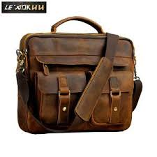Men real leather antique style coffee briefcase - bellabydesignllc