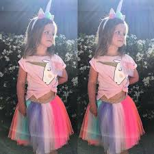 <b>2019 Summer</b> Fashion <b>Unicorn</b> Girls Outfits <b>Pink</b> Short Sleeve T ...