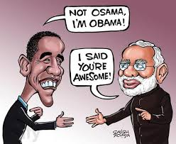 Image result for Modi OBAMA CARTOON