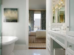spa like ensuite bathroom with soft blue gray walls paint color blue grey paint colors view
