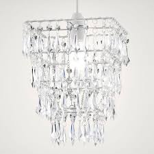 Lights By B&Q Savannah Crystal Effect 4 Tier Droplet Pendant Light ...