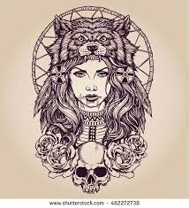 Native American <b>girl with Wolf headdress</b> Lineart   Meninas tatuadas ...