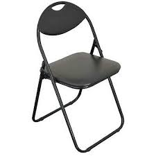 Folding <b>Office Chair Black Faux</b> Leather Padded Dining Seat Dining ...