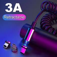 3A Magnetic Cable Spring Type C Micro USB <b>Quick Charger 8 Pin</b> ...