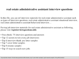 real estate administrative assistant interview questions real estate administrative assistant interview questions in this file you can ref interview materials for