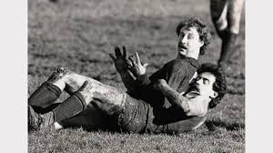 gallery ntfa 1984 the examiner launceston s paul ellis and east launceston michael mace grab a minute of relaxation