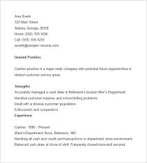 cashier resume template –    free samples  examples  format    cashier sample resume