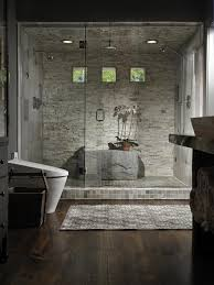 small master bathroom dark tile